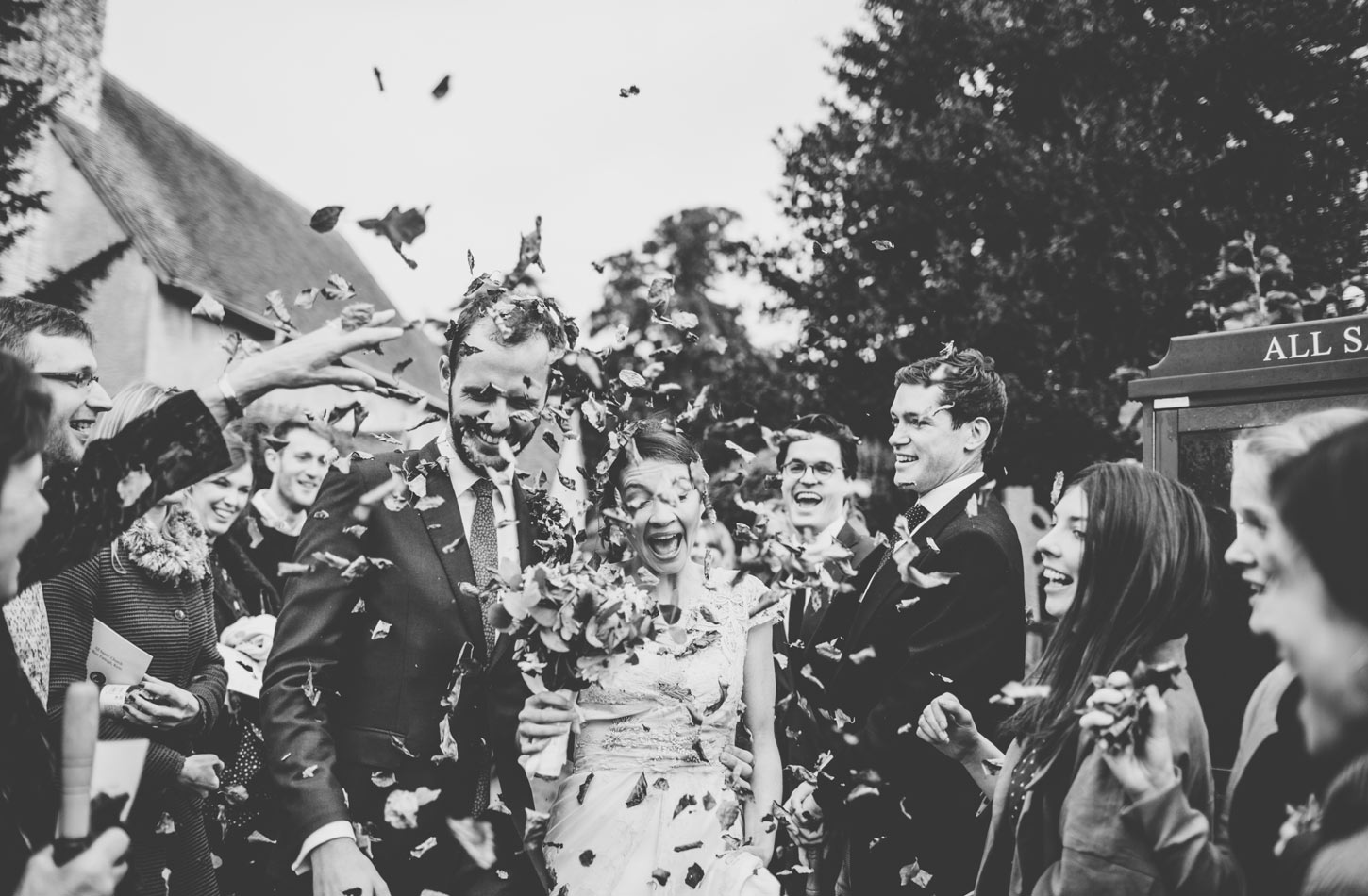 bride and groom  leaving church confetti